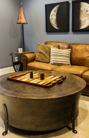 Media Room Round Metal Coffee Table And Leather Sofa