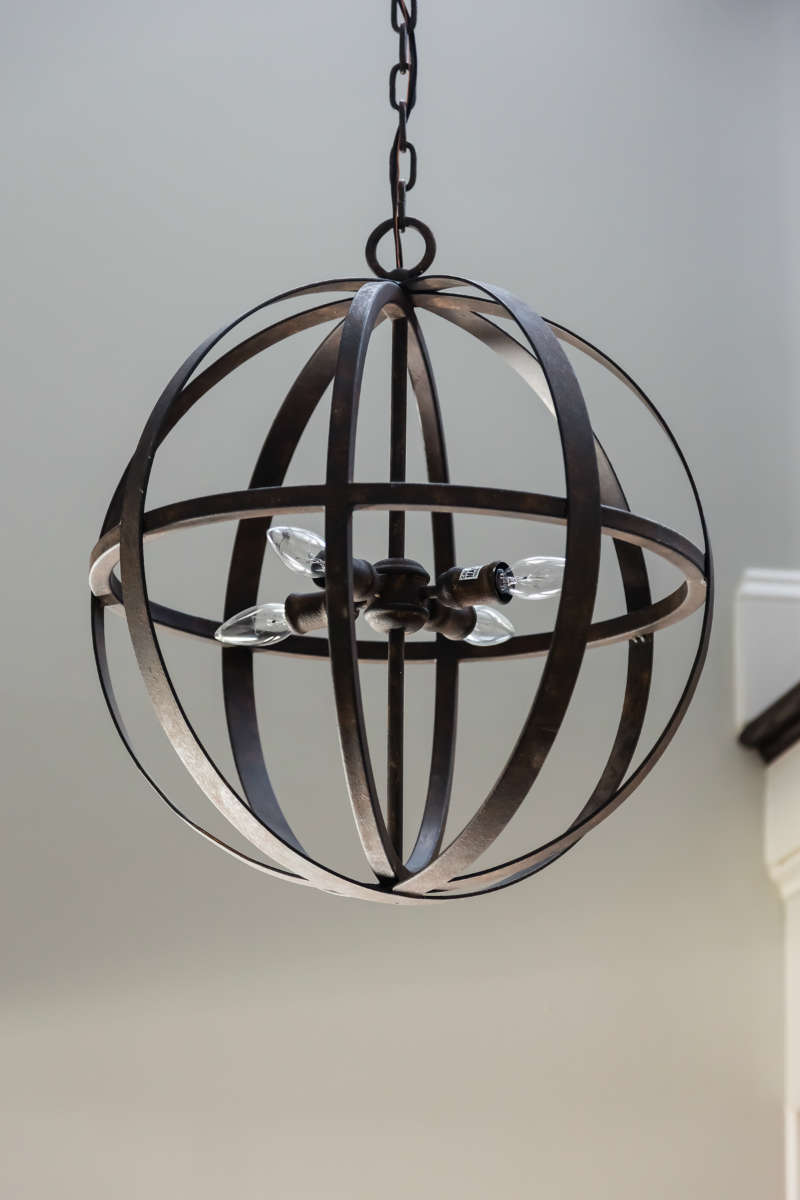 Metal Orb Foyer Pendant Light