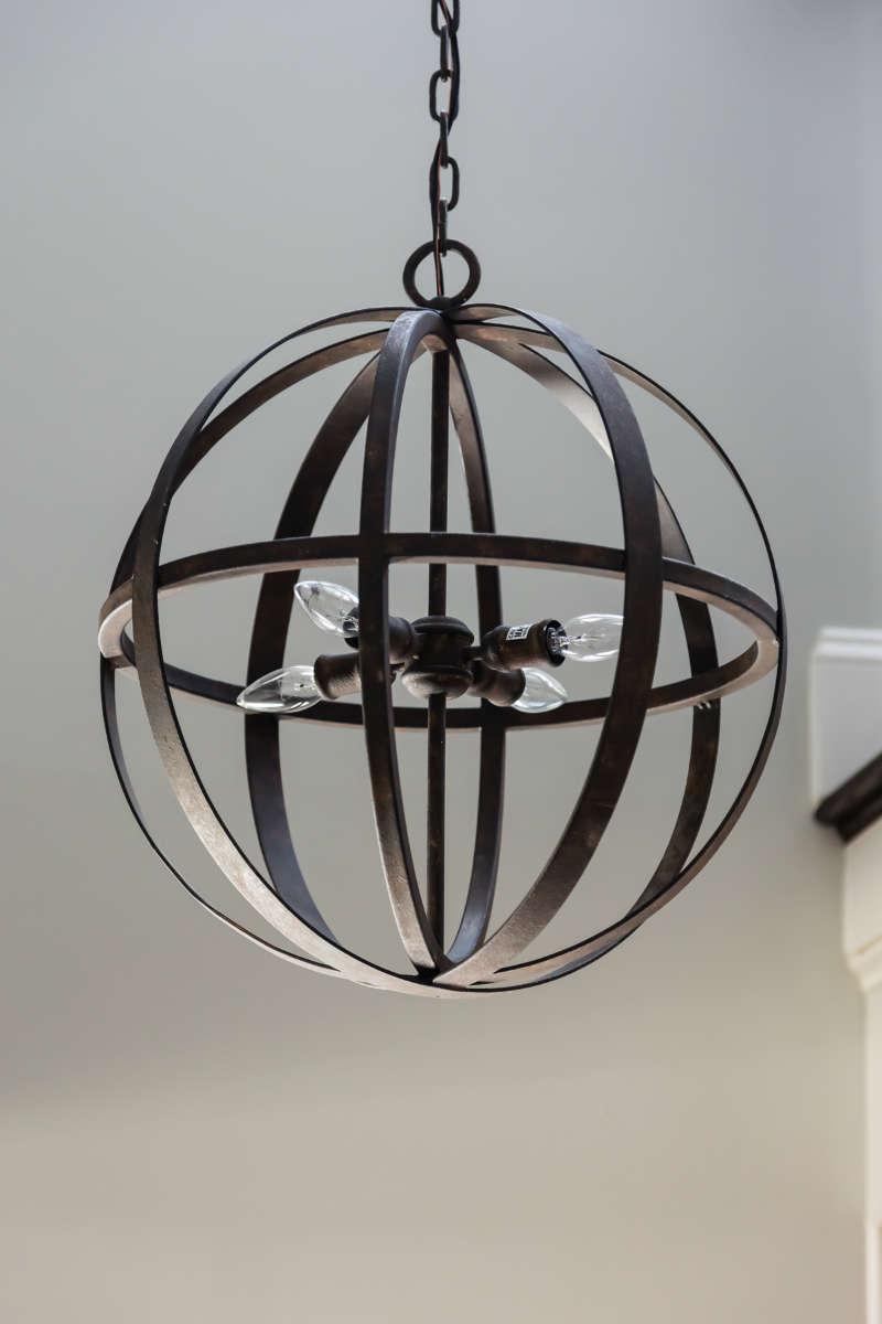 Metal Orb Foyer Pendant Light