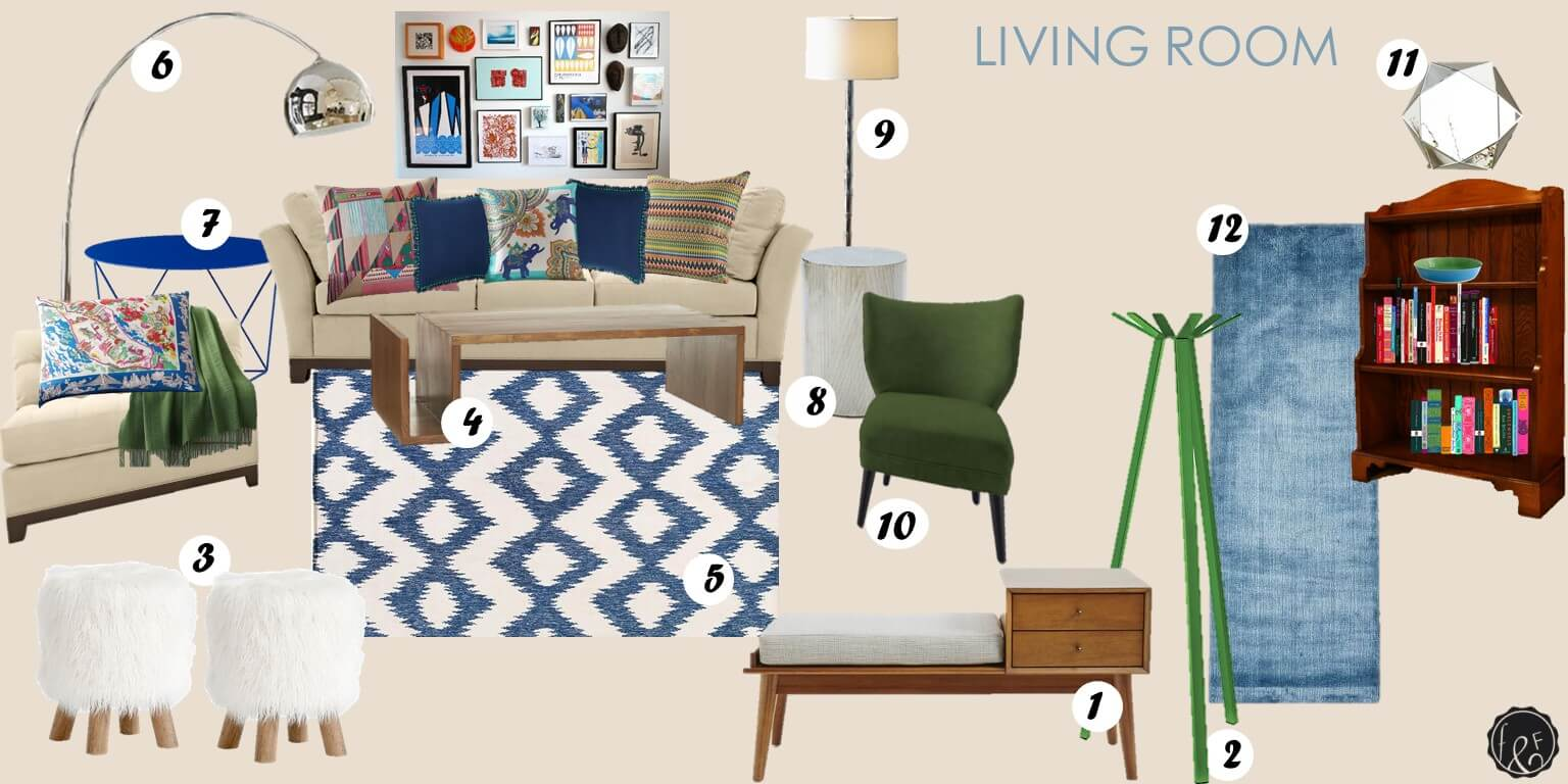 Mid Century Bungalow Style Living Room Blue And Green