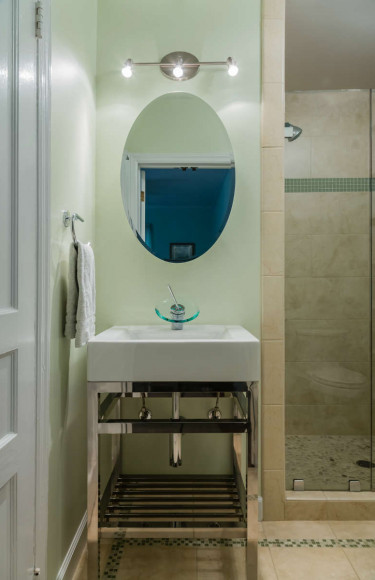 Modern Chrome Ceramic Vanity With Oval Medicine Cabinet Mirror