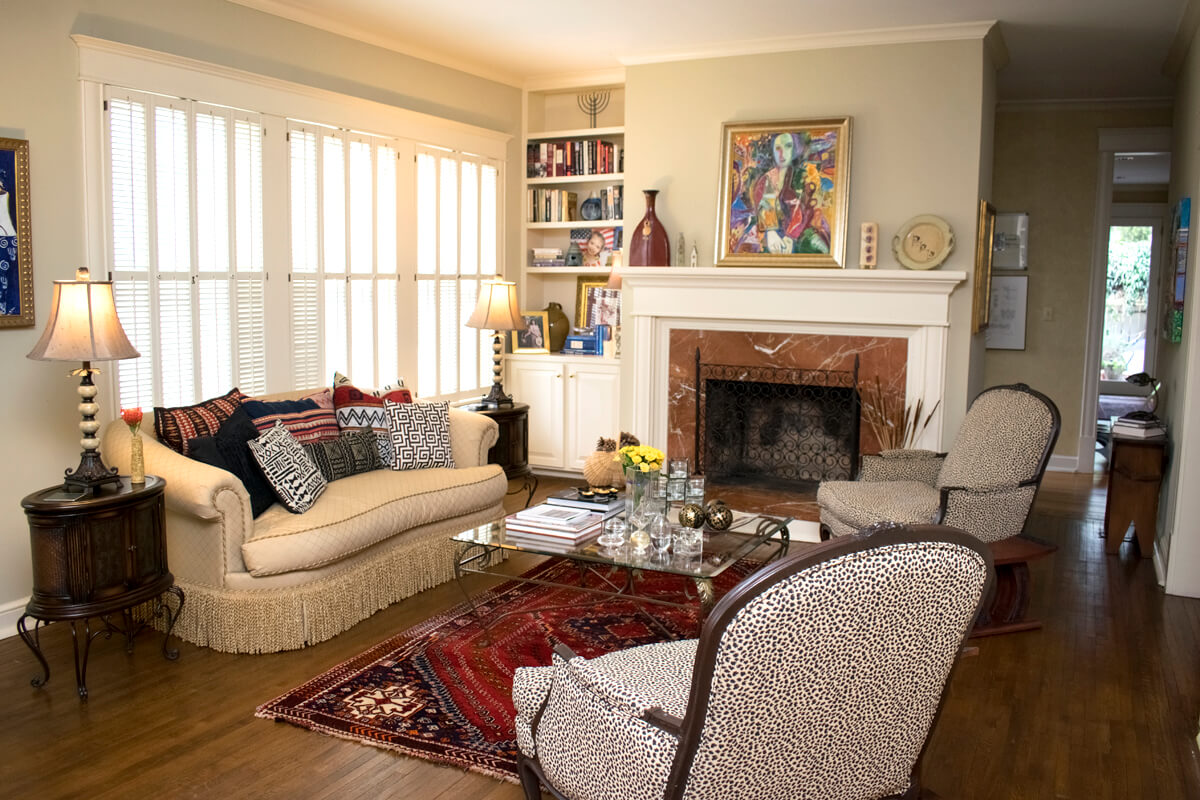 Older Home Living Room Grouping Fireplace