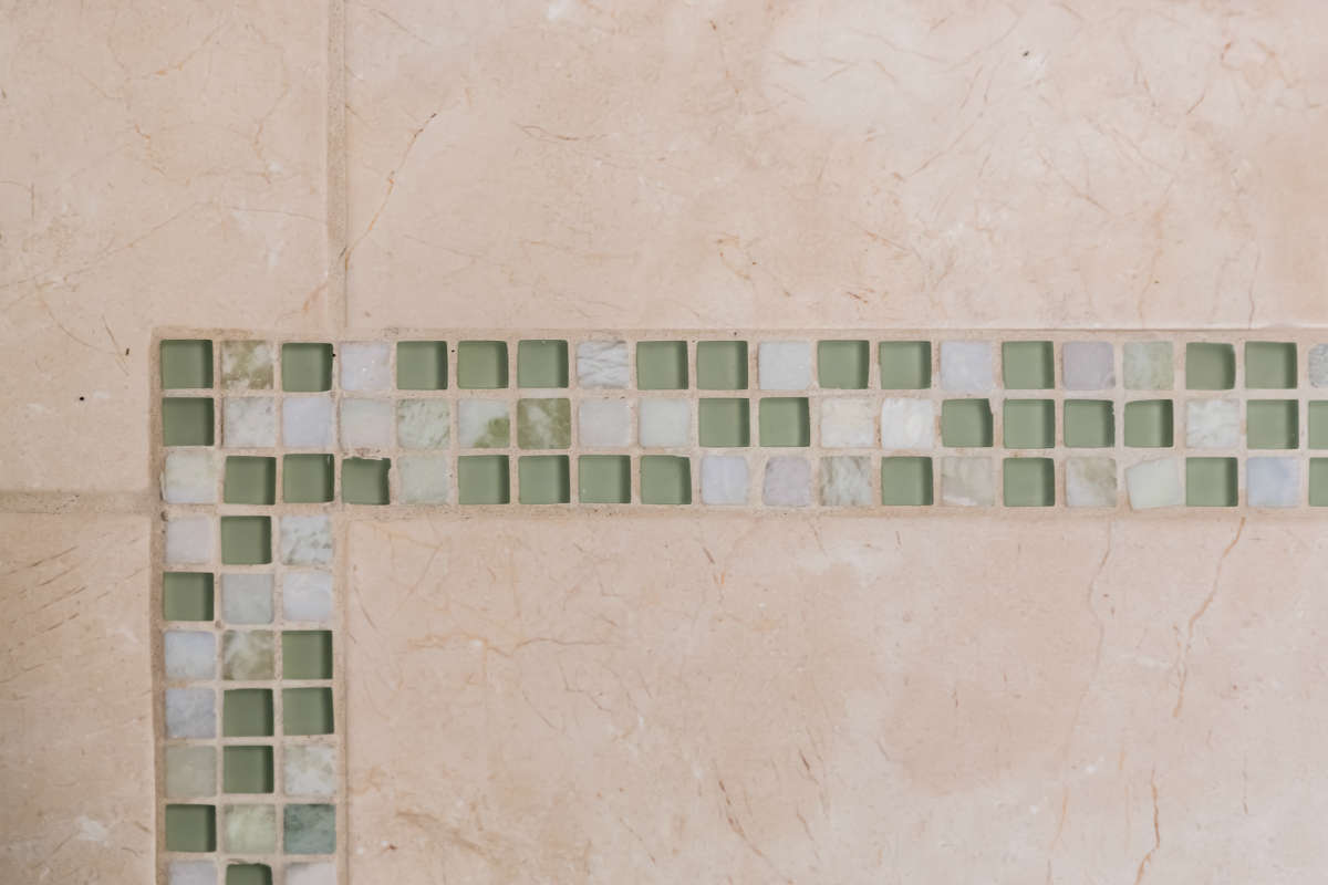 Seafoam Green Glass And Taupe Floor Tile