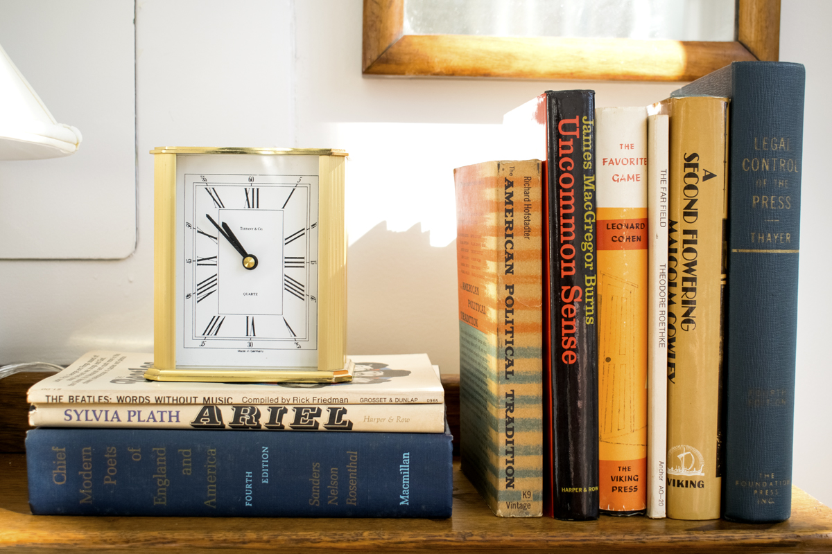 Side Table Styling Books Clock