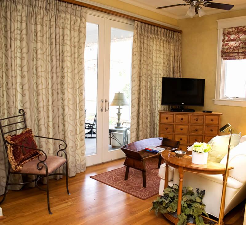 Small Den Tv Room Custom Linen Drapes