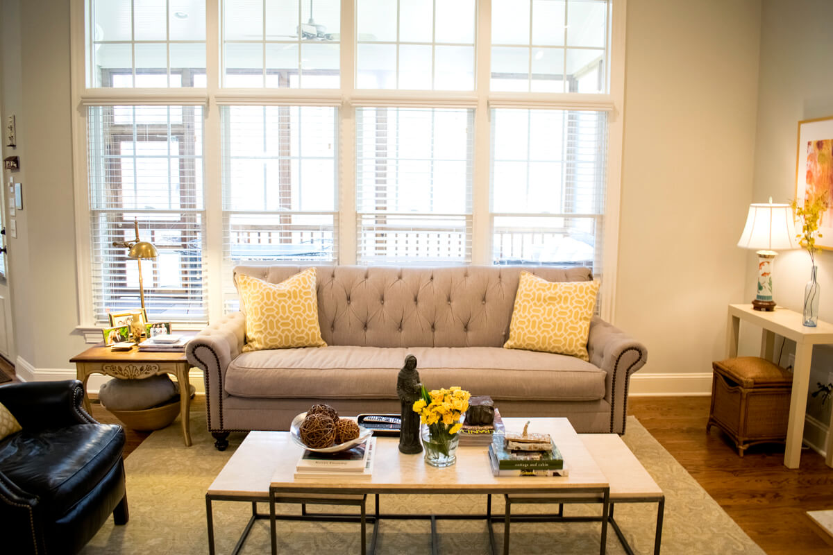 Taupe Nailhead Sofa Yellow Pillows