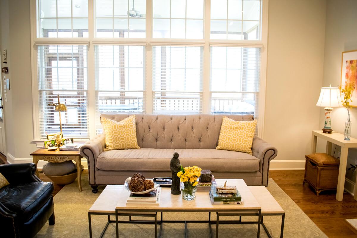 Taupe Nailhead Sofa Yellow Pillows