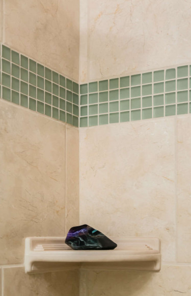 Taupe And Seafoam Green Glass Shower Tile