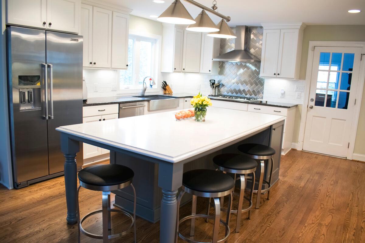 White Cabinets Grey Island Kitchen Quartz Counter