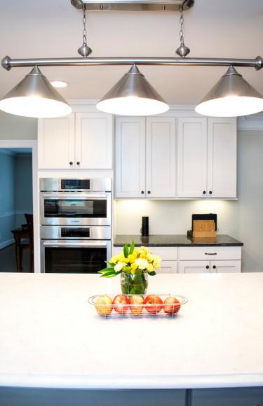White Kitchen Island Triple Pendant Brushed Nickel Light