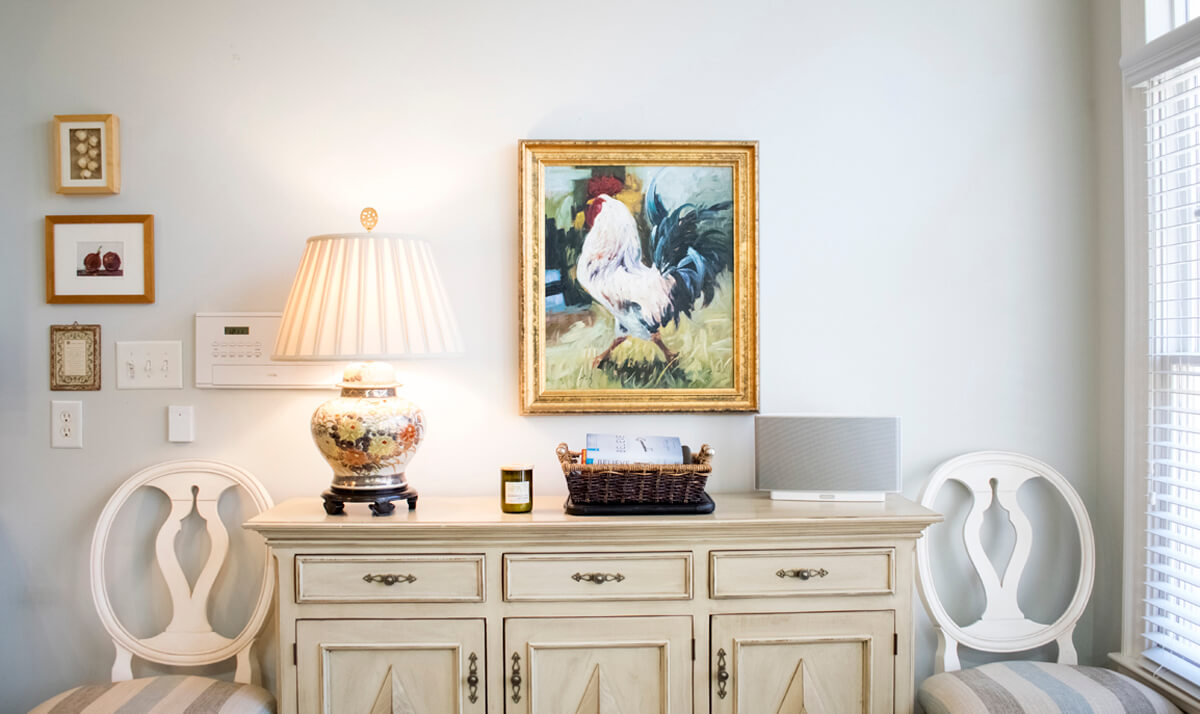 White Rustic Sideboard Rooster Painting Gallery Wall