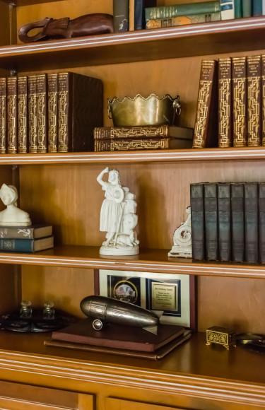 Antique Books Wood Panel Bookshelves Historic Accessories