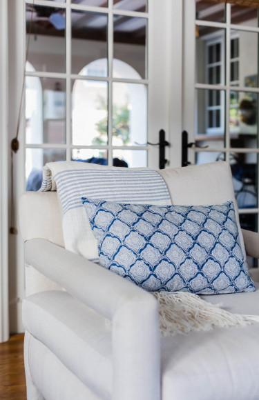 Block Print Blule White Fabric Pillow Detail Baughman Chair