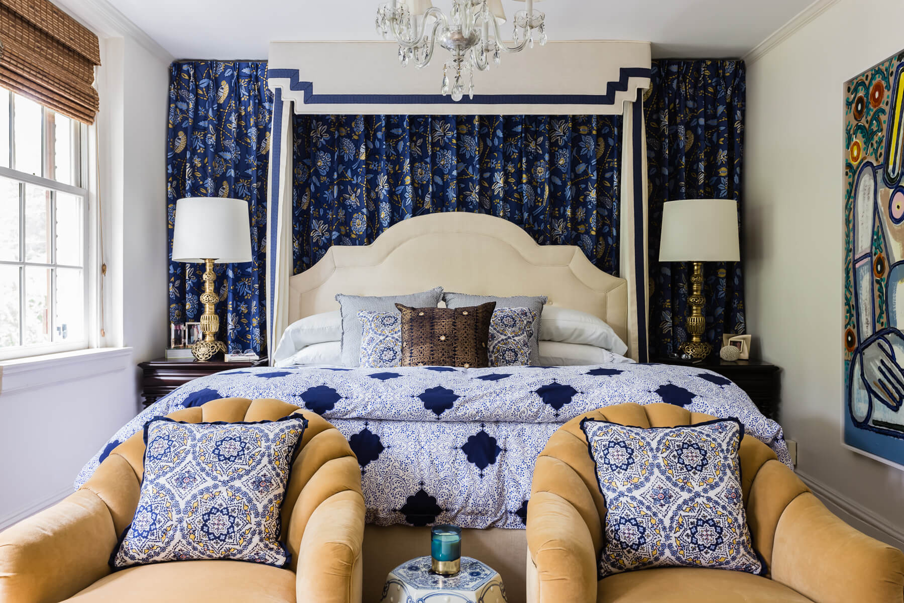 Blue Gold Fabric Master Bedroom Moroccan Brass Lamps Gold Deco Chairs