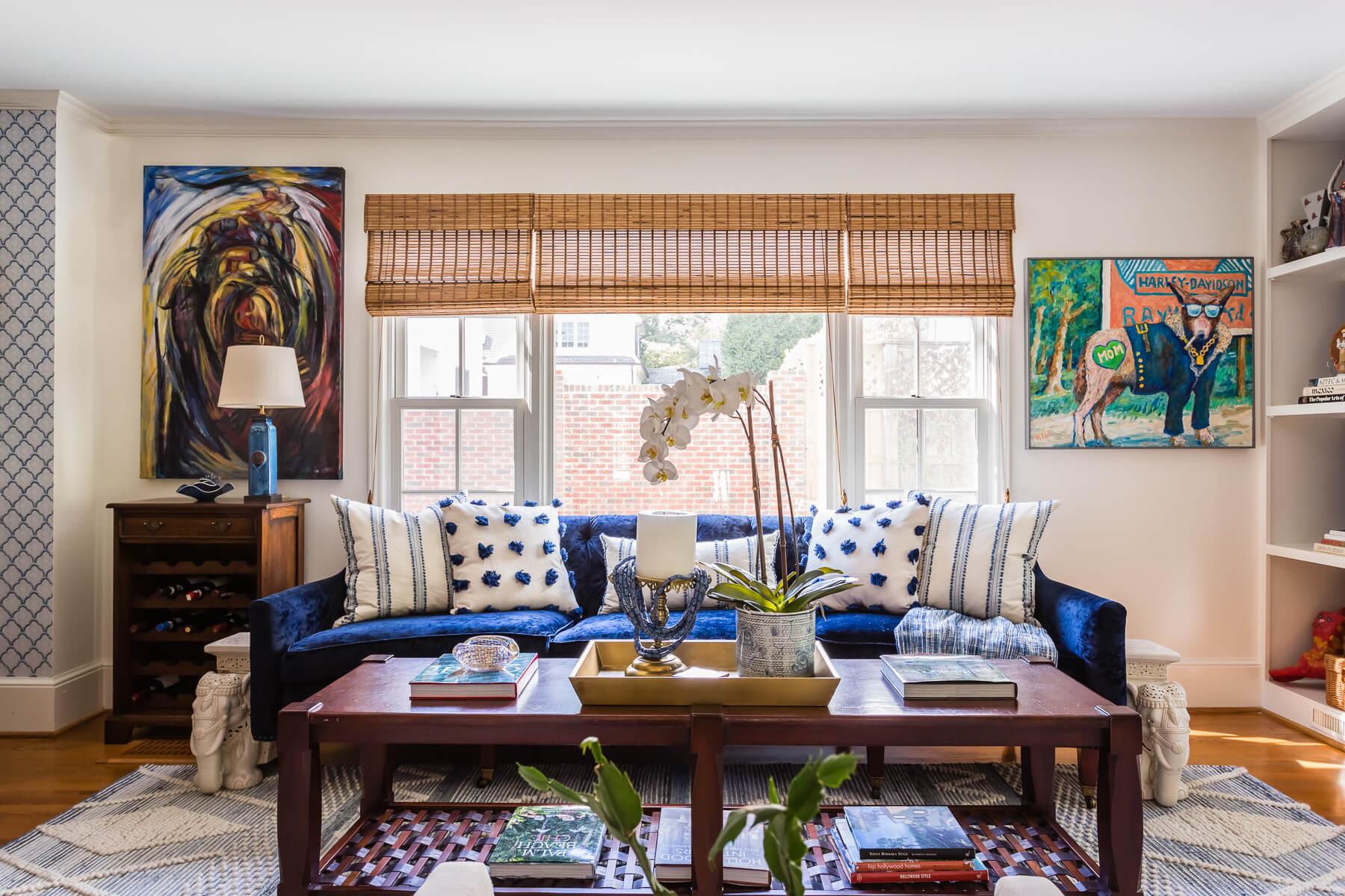 Blue White Family Room Modern Bohemian Style