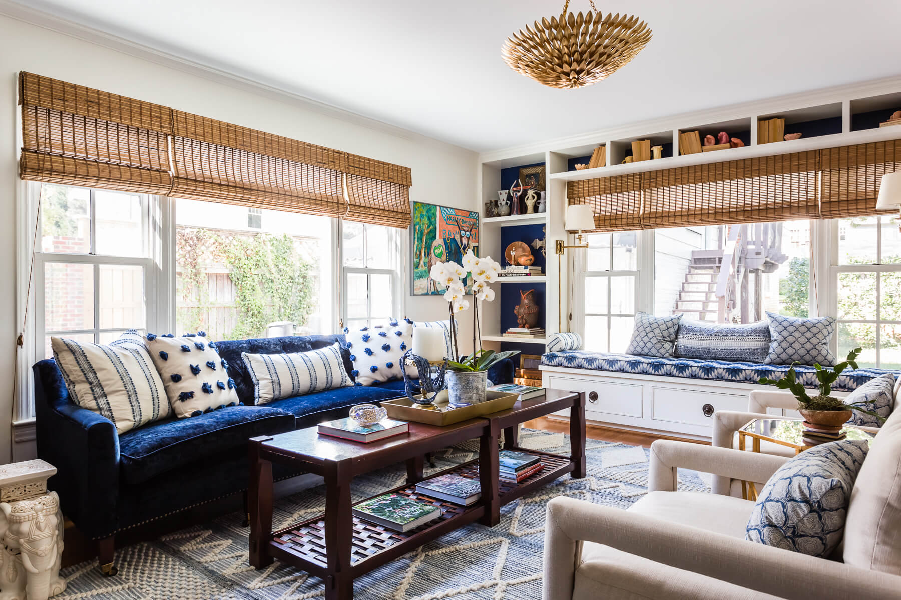 Blue White Family Room Woven Shades