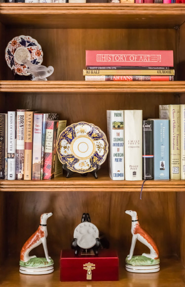 Bookshelf Styling Books Porcelain Accessories