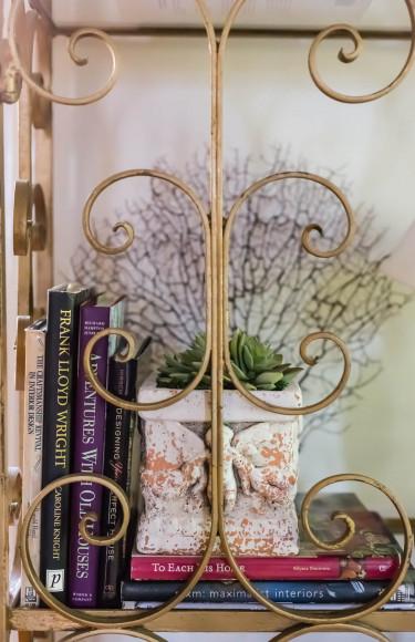 Bookshelf Styling Plants Coral Books