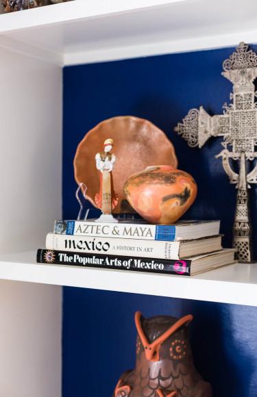 Bookshelf Styling Pottery Navy Painted Back Wall