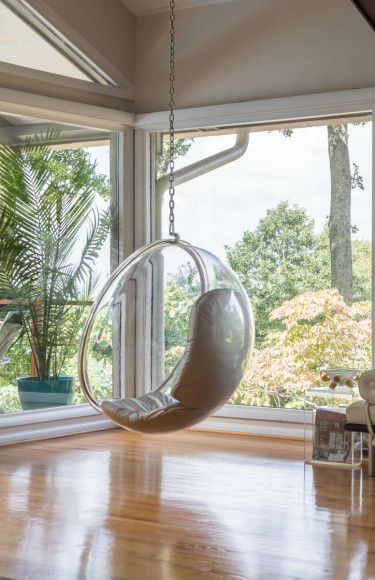 Bubble Chair In Corner With View Of Mountains