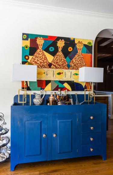 Cobalt Blue Bar Area Modern Outsider Art