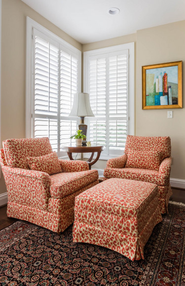 Coral Animal Print Fabric Reading Corner Sunroom