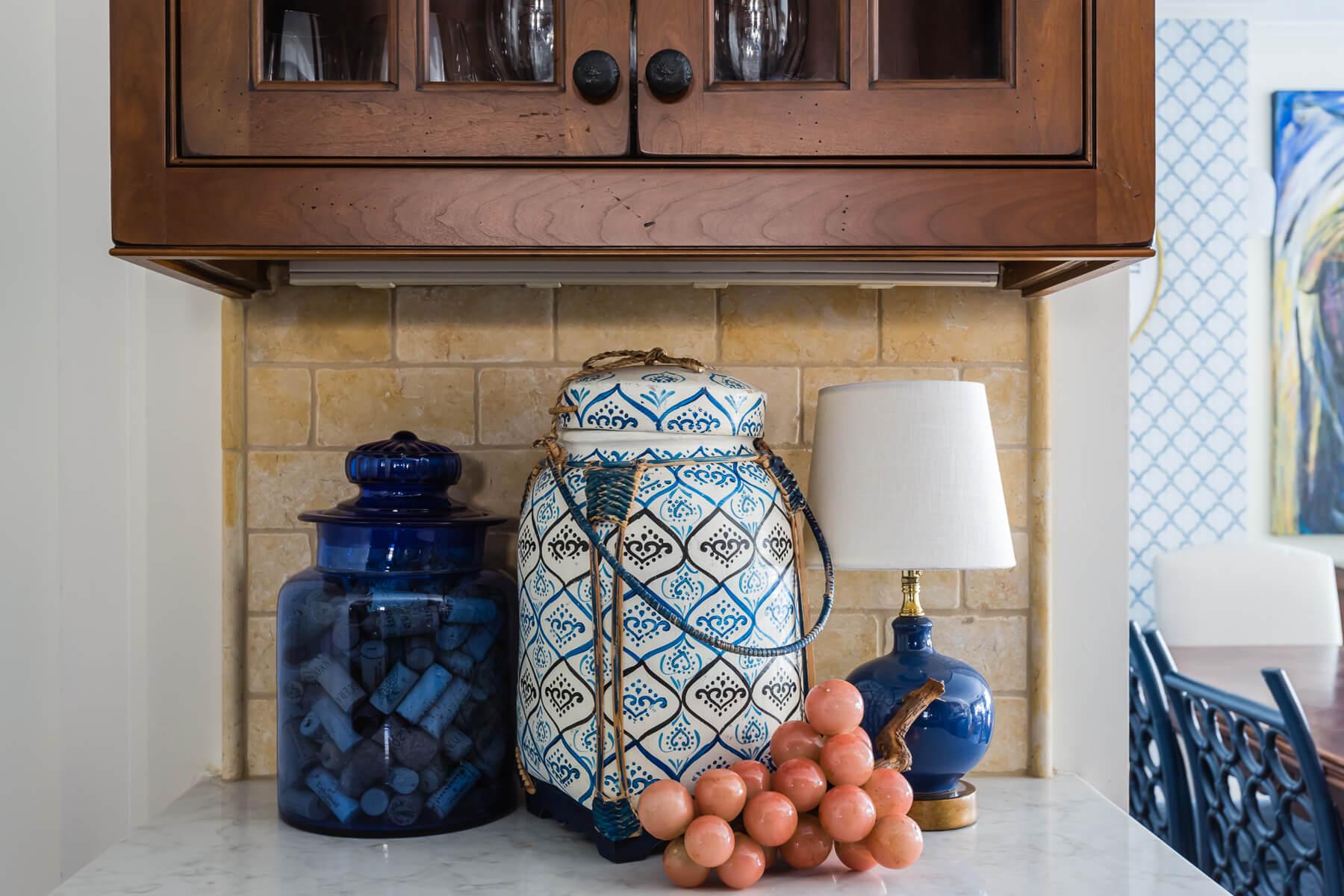Countertop Styling Cobalt Blue Lamp Alabaster Grapes