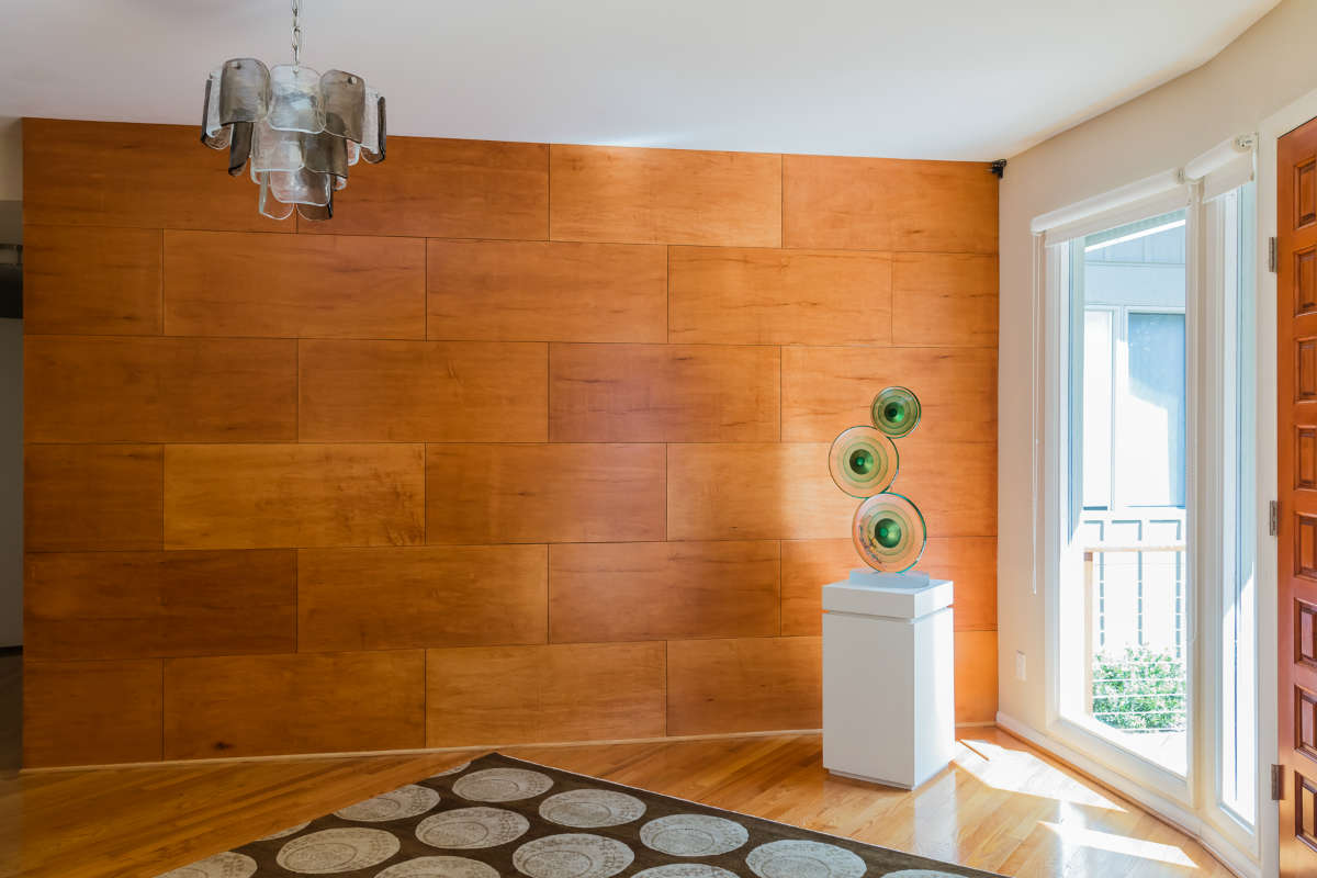 Custom Wood Wall Brick Pattern In Foyer