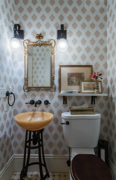 Gold Block Print Wallpaper Powder Room