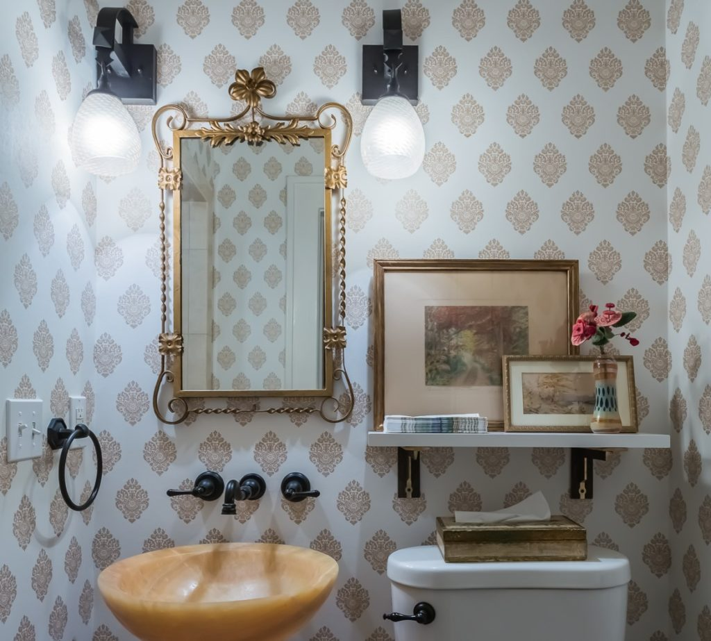 gold block print wallpaper small bathroom styling tips