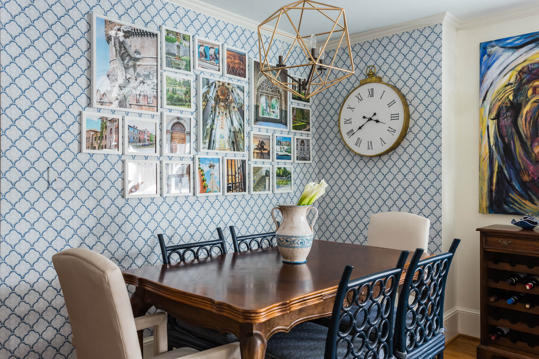Kitchen Eating Area Blue White Bohomeian Wallpaper