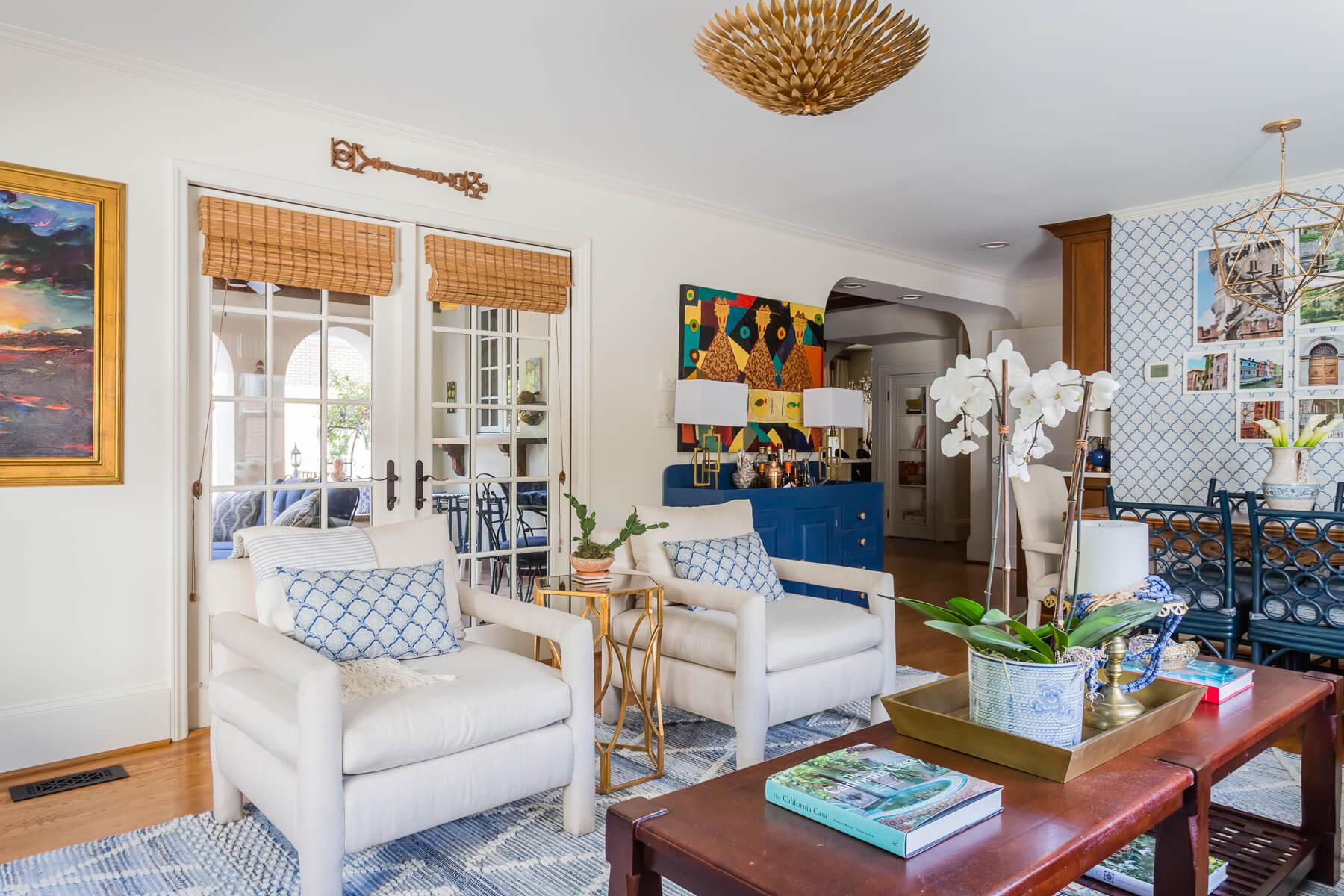 Mid Century Modern Baughman Parson Armchair Blue White Family Room