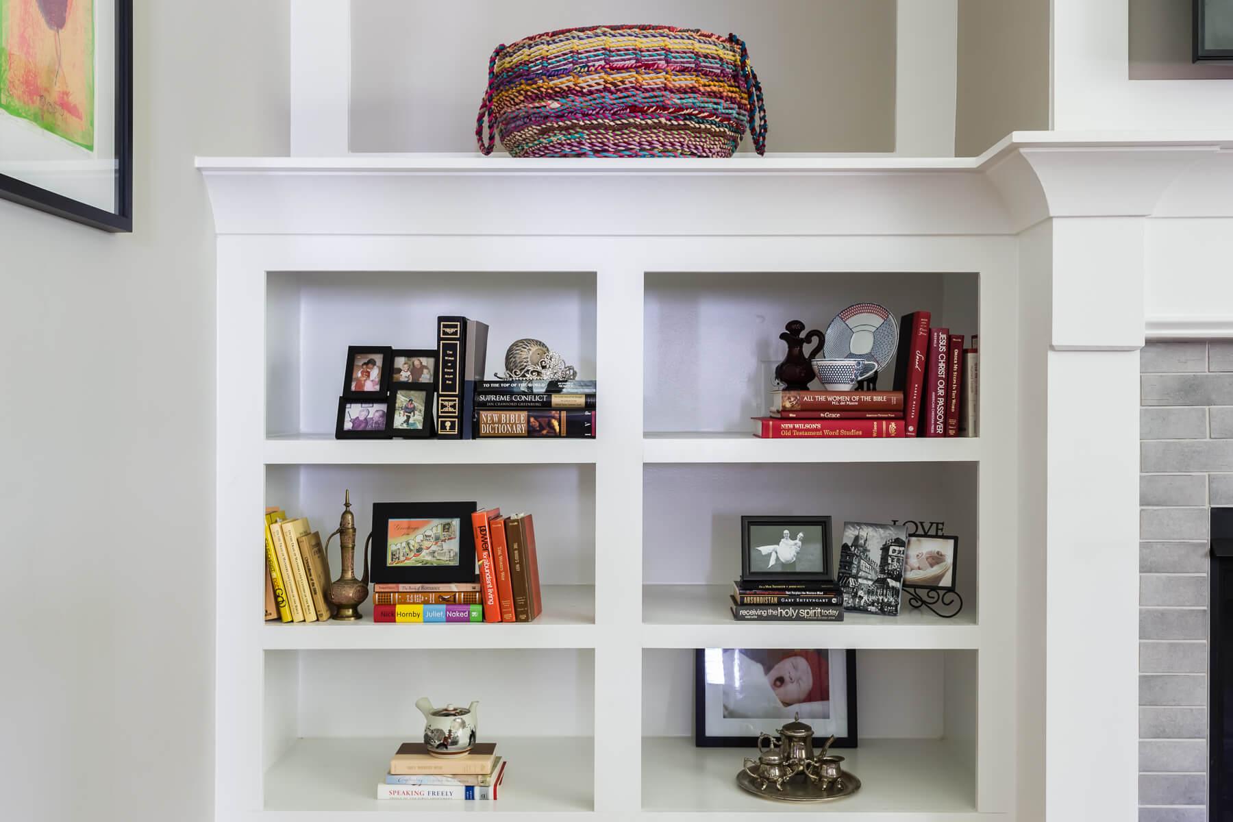 Modern Farmhouse Style Bookshelf Styling