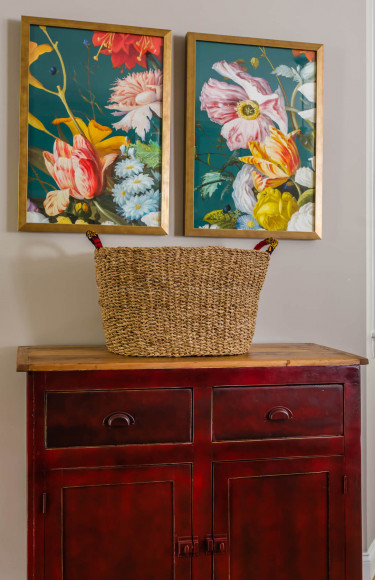 Modern Farmhouse Style Red Cupboard Colorful Art