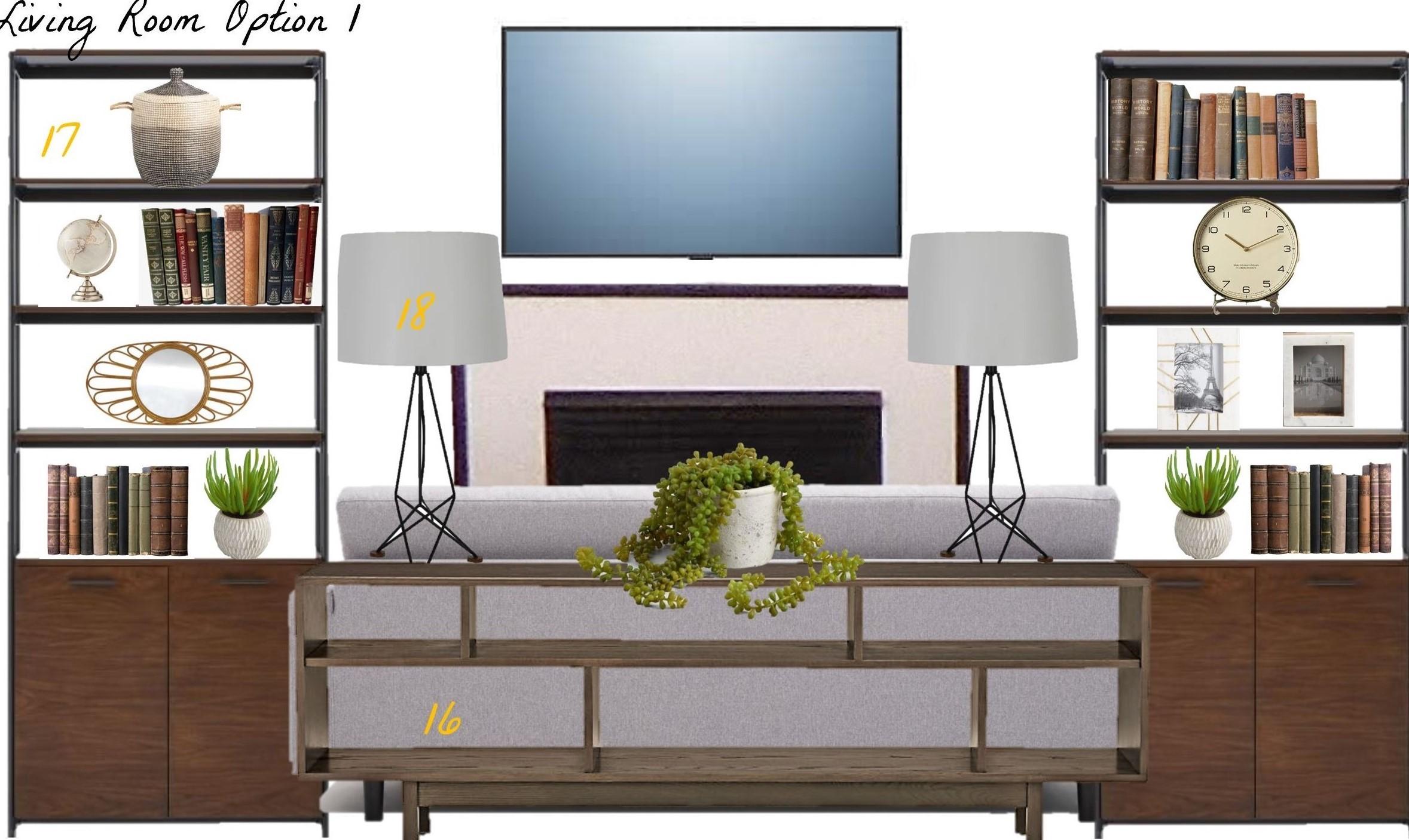 Modern Living Room Etagere Bookshelf Storage Ideas
