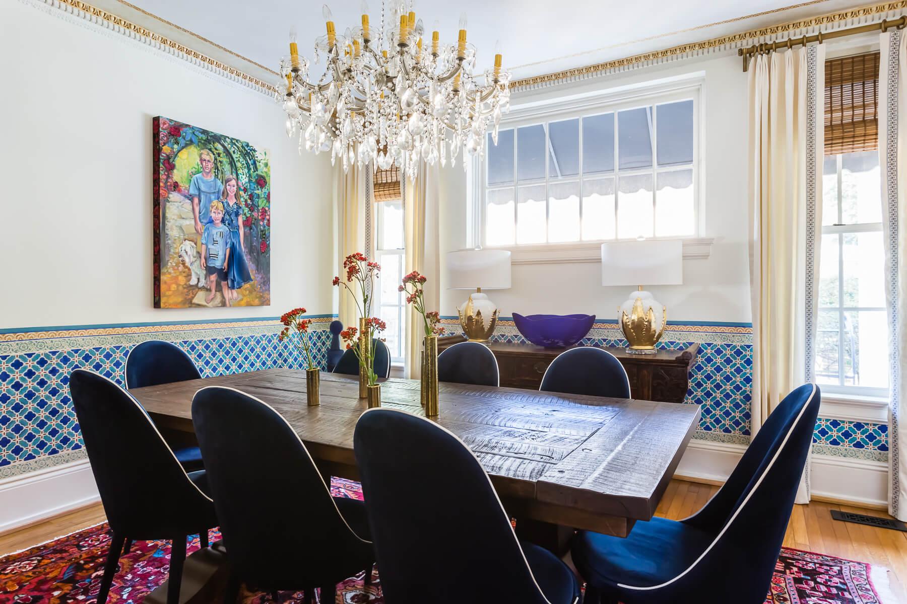 Modern Spanish Dining Room Custom Curtains Decorative Tape Trim Modern Glass Art