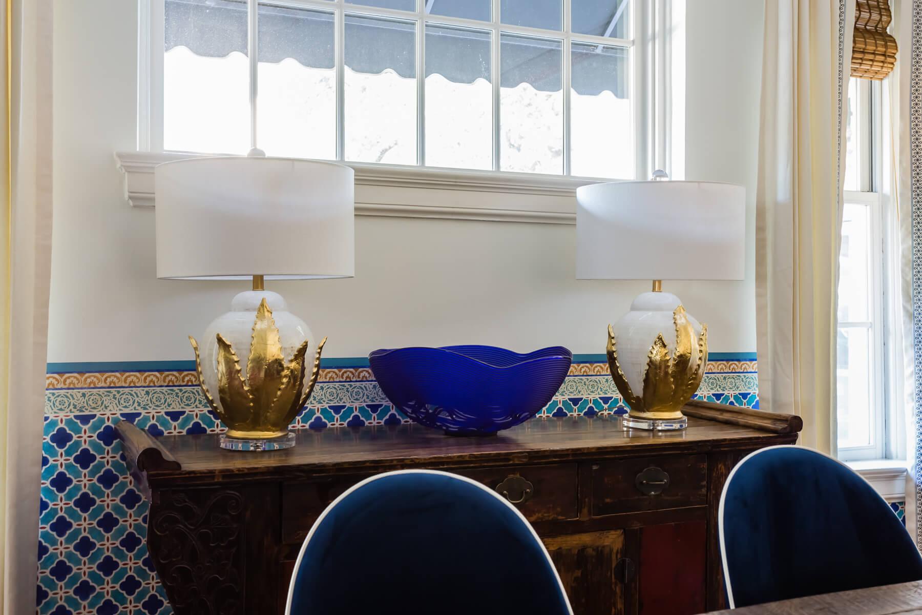 Modern Spanish Dining Room Mark Peiser Cobalt Blue Glass Bowl