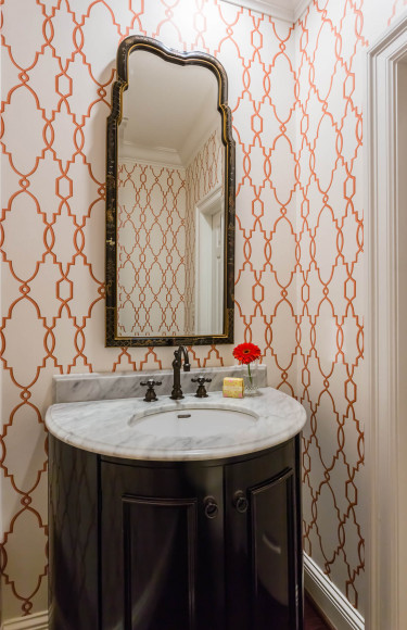 Schumacher Parterre Red Wallpaper Powder Room Styling