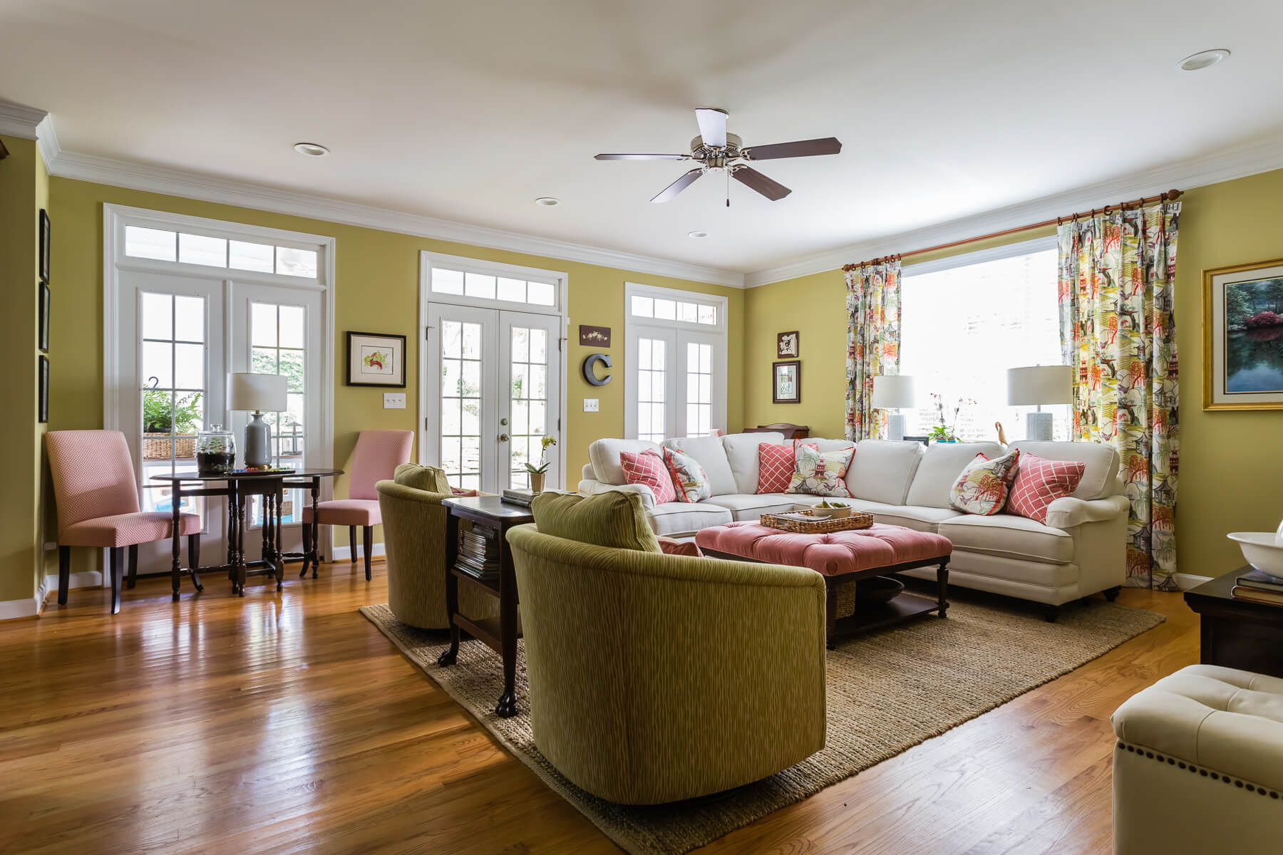 Southern Living Coral Chartreuse Colors Family Room