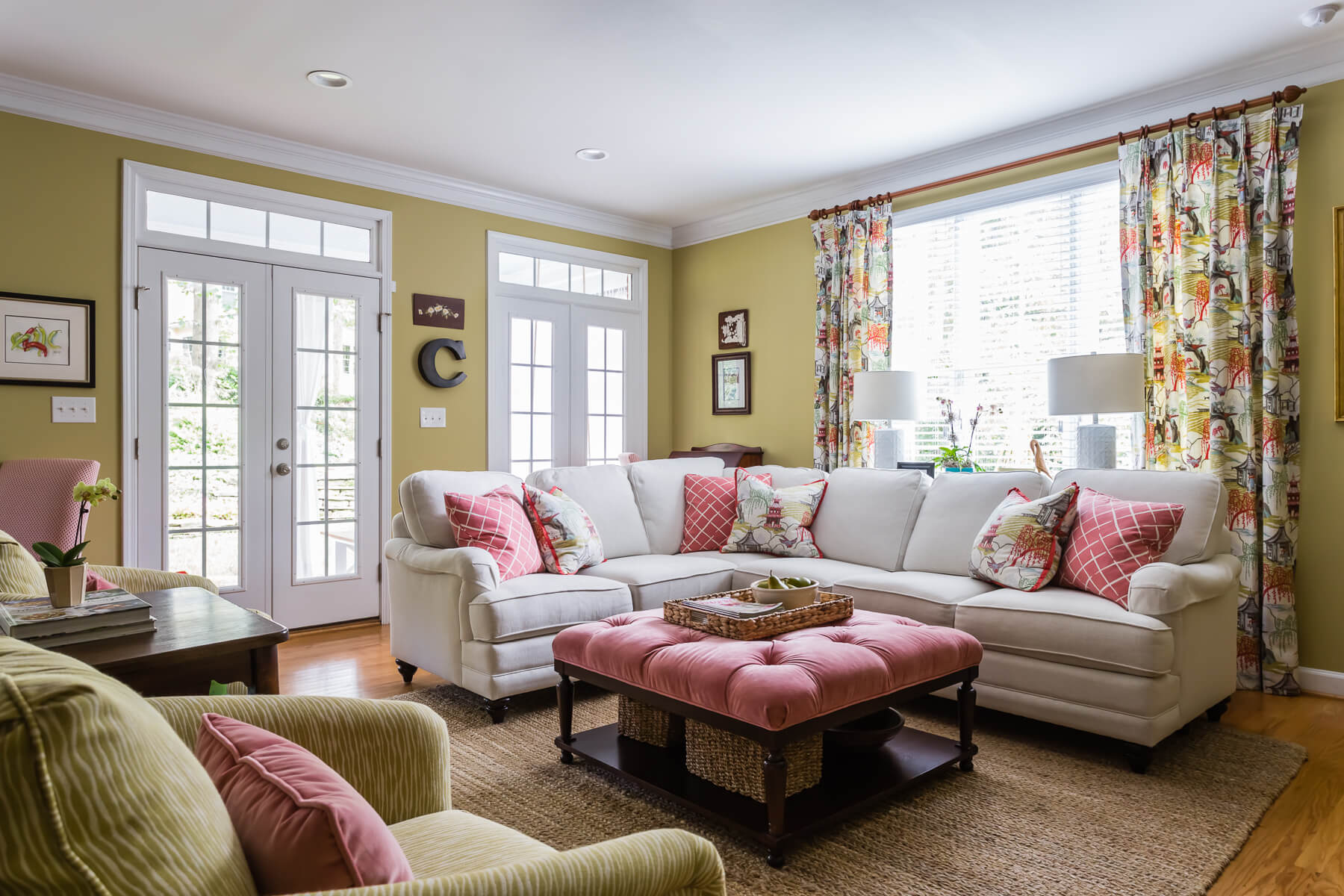 Southern Living Inspired Coral Chartreuse Family Room Chinoiserie Fabric Curtains