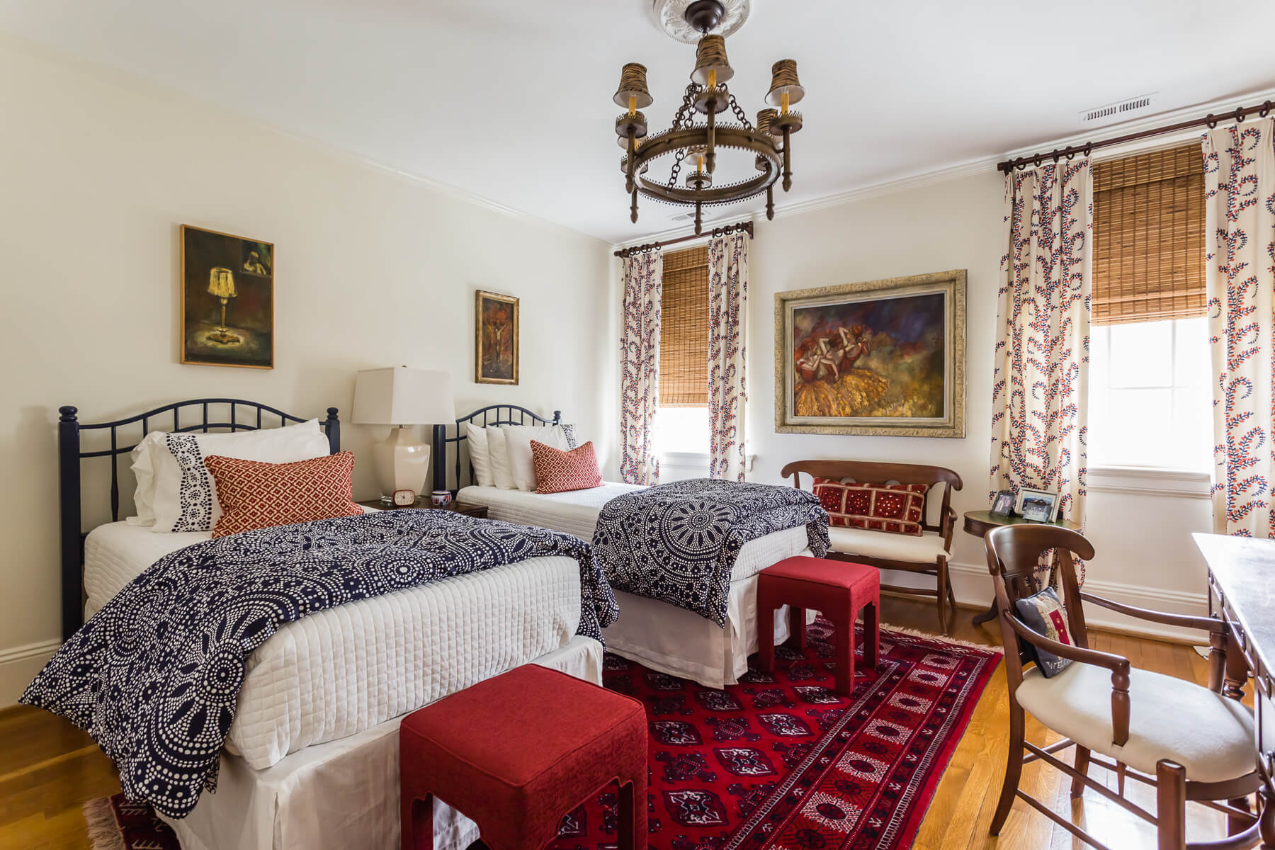 Spanish Guest Bedroom Blue White Red Fabric Persian Rug