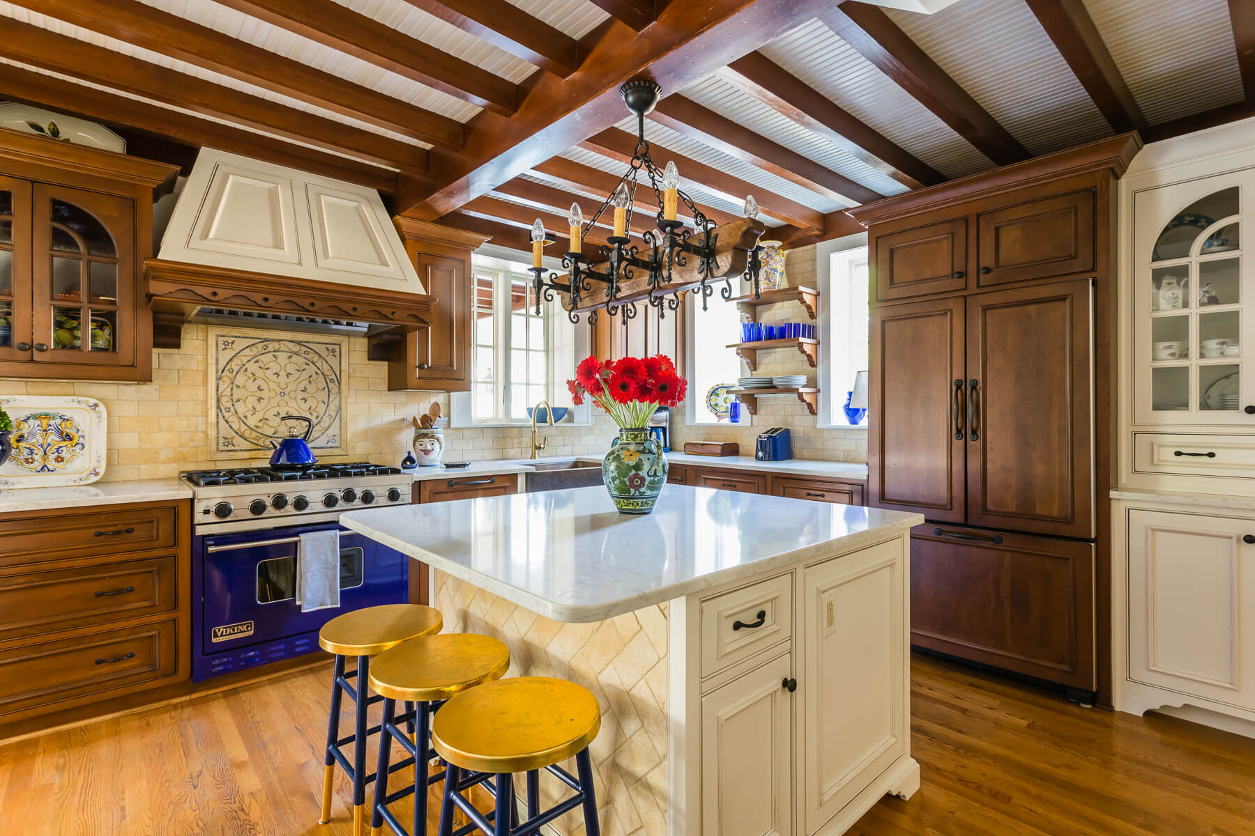 Spanish Kitchen Wood Exposed Beams Cobalt Blue Viking Stove