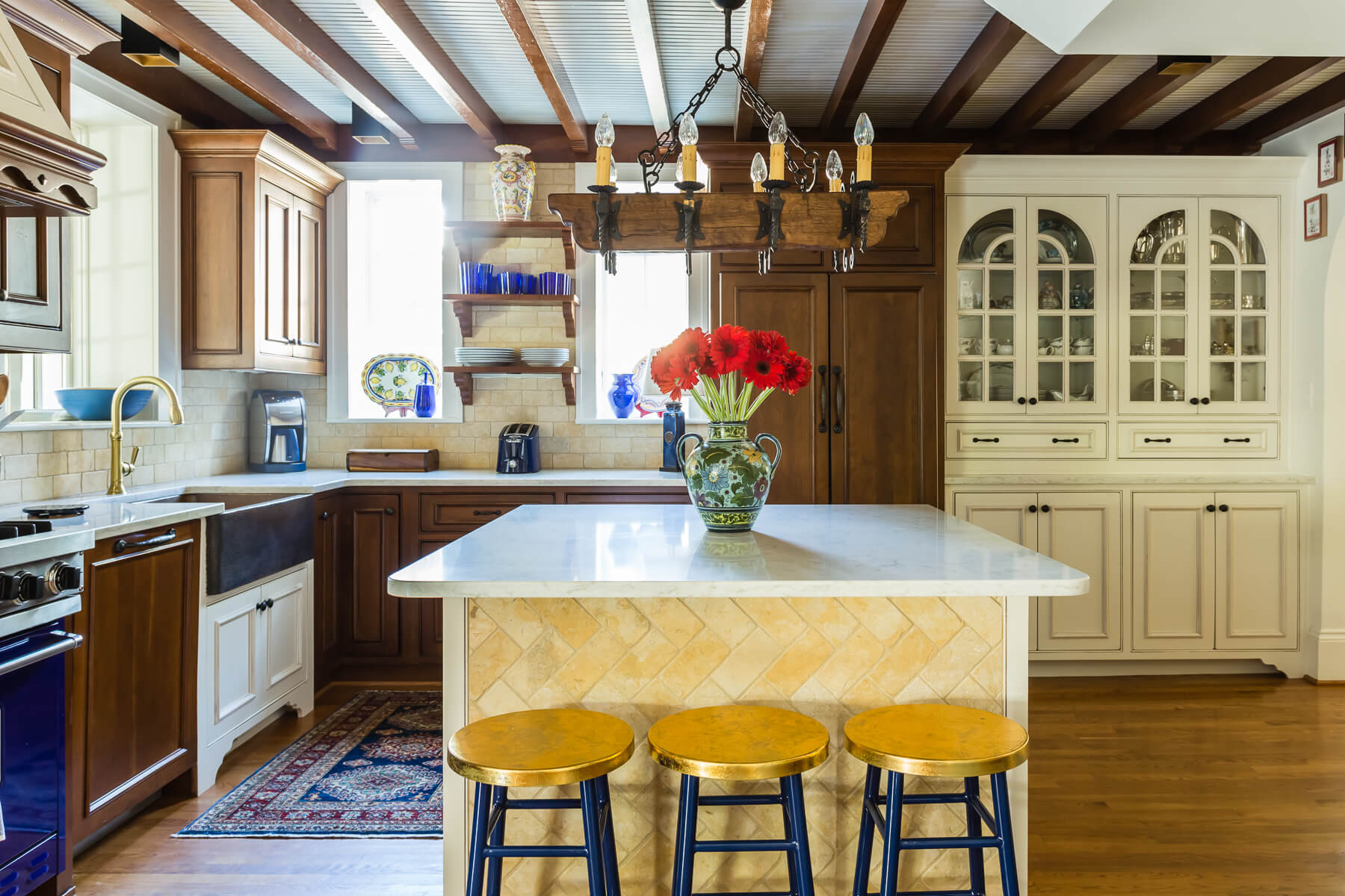 Spanish Kitchen Wood Painted Cabinets Floating Shelves