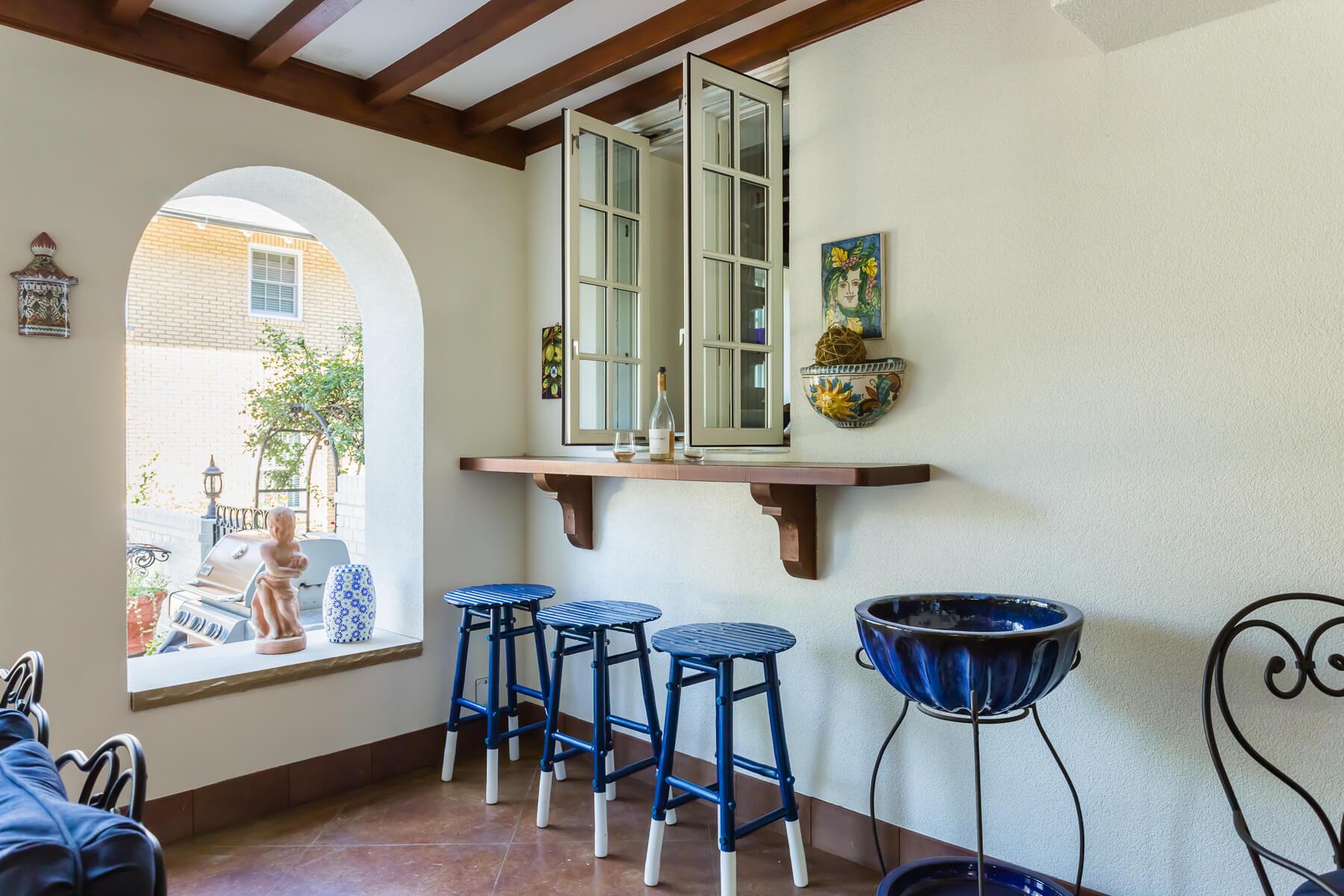 Spanish Outdoor Loggia Bar Area Open Window Kitchen Pass Thru