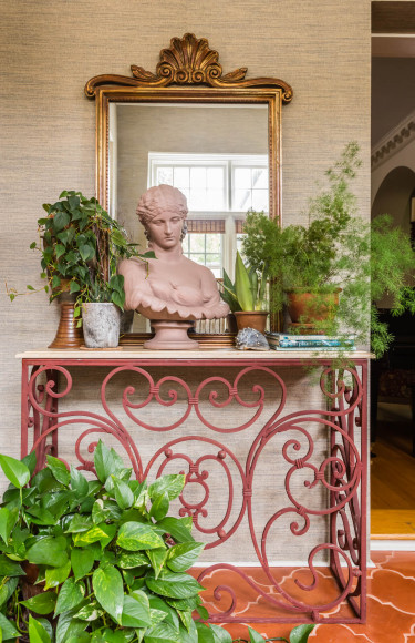 Spanish Sunroom Terracotta Bust Iron Marble Console Table Plants