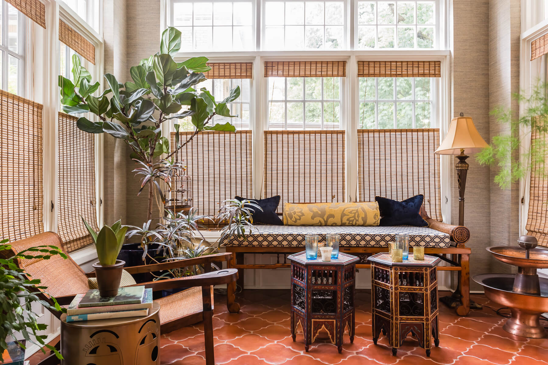 Spanish Sunroom Terracotta Floors Fiddle Leaf Fig Asian Daybed