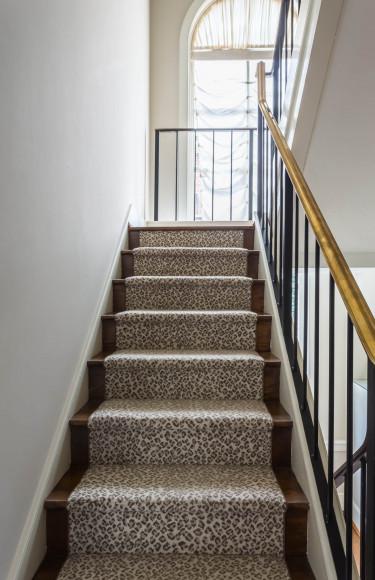 Taupe Leopard Stairway Runner
