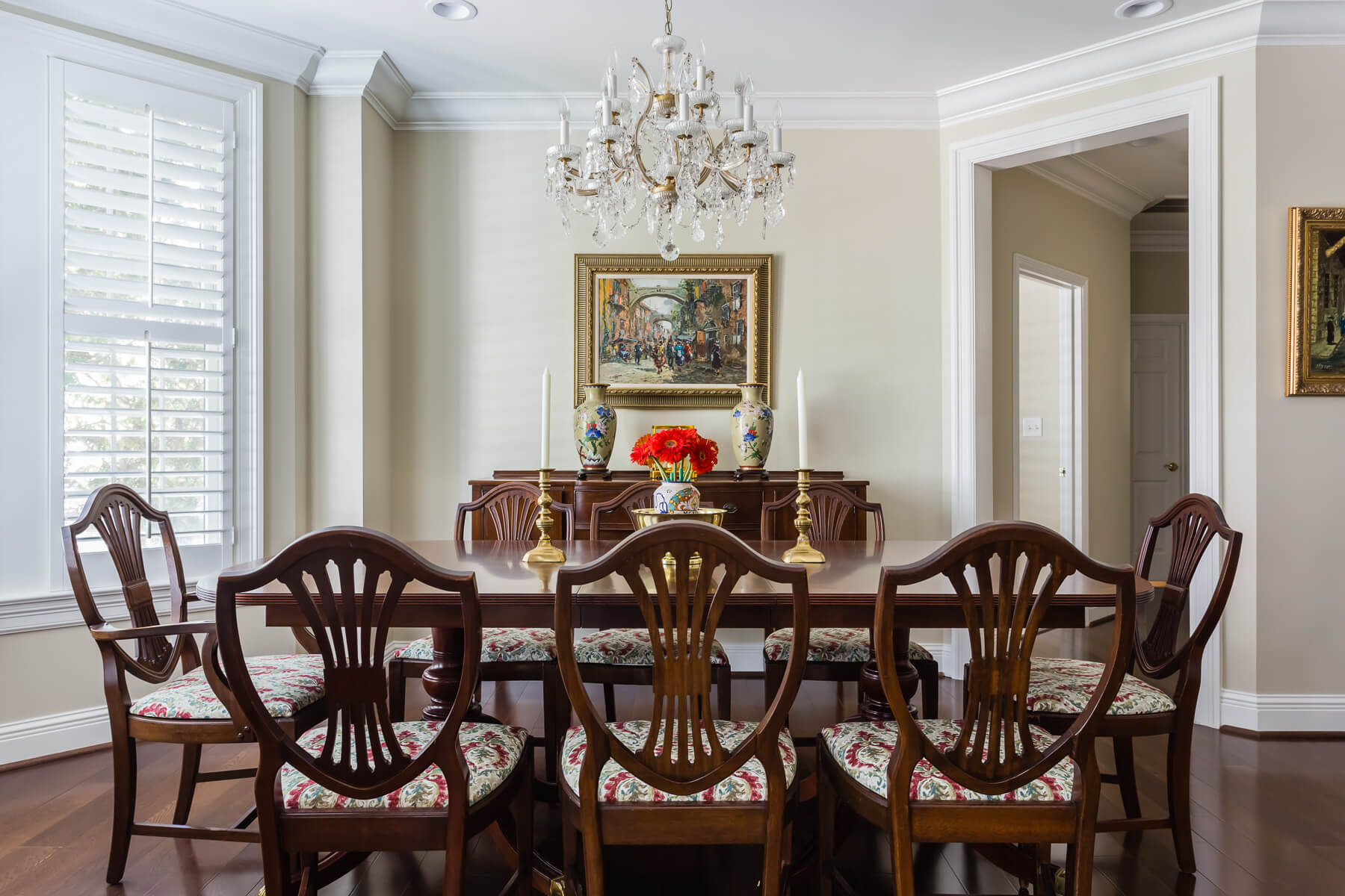 Traditional Dining Room Shield Back Dining Room Chairs