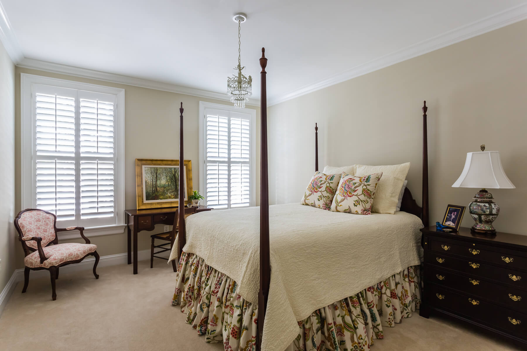 Traditional Guest Bedroom Custom Bedding