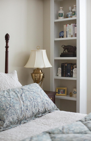 Traditional Master Bedroom Built In Bookshelves 1
